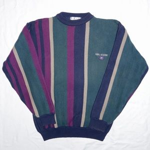 Vintage 90s Naval Academy Striped Knit Crewneck